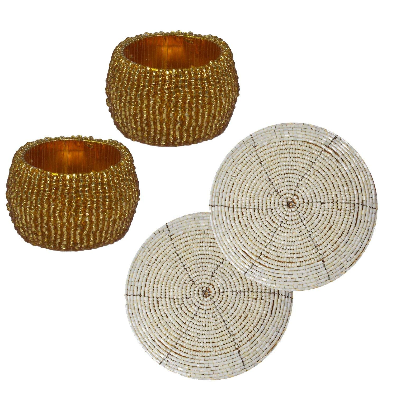 Set of 4- 2 Off-White Handmade Beaded Round Placemat Tea Cup Coaster and 2 Golden Napkin Ring Holder Wedding Decor