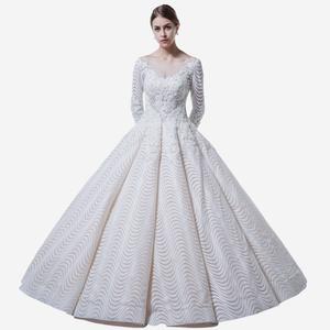 White Arab Long Sleeve Muslim Wedding Dress 7d3f8a14c9ad