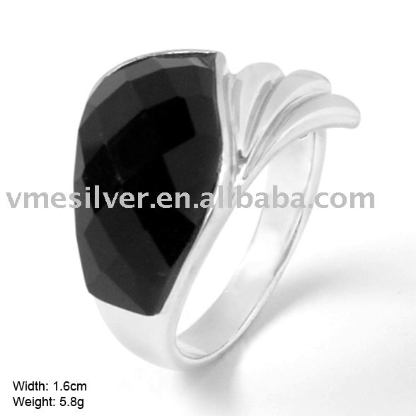 RAC-0993 Real Pure 925 Sterling Silver Ring with Agate Handsome Jewelry For Men