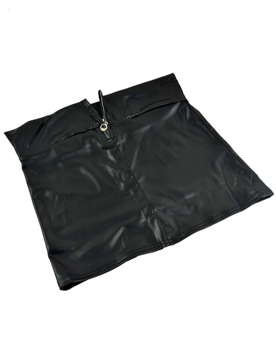 e5080d3dd9ad9 Get Quotations · Women European Style Zipper High Elastic Close-fitting Faux  Leather Mini Skirt