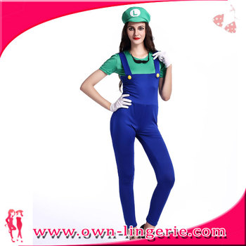 super mario luigi fancy dress costumes red and green panty cosplay women clothes for halloween