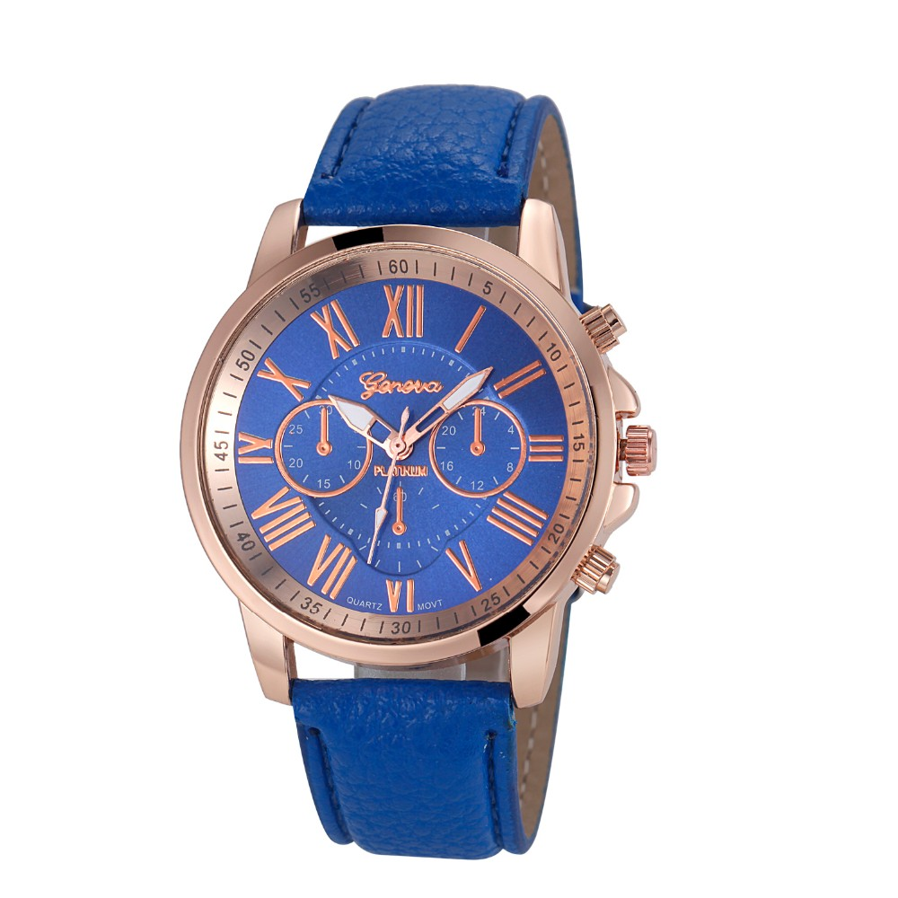 Custom logo sport watch in blue popular color geneva watch in stock