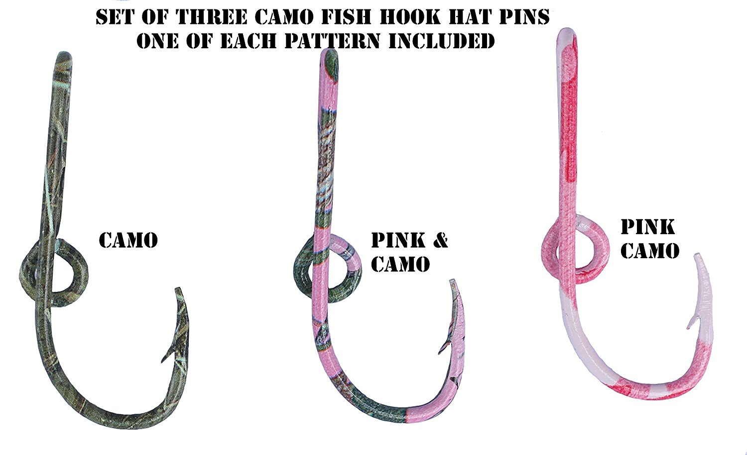 Three Eagle Claw Camo Hat Pin Hook Fish hook for Hat Camo Fish Hook Money/Tie Clasp - Set of Three Camo Hooks