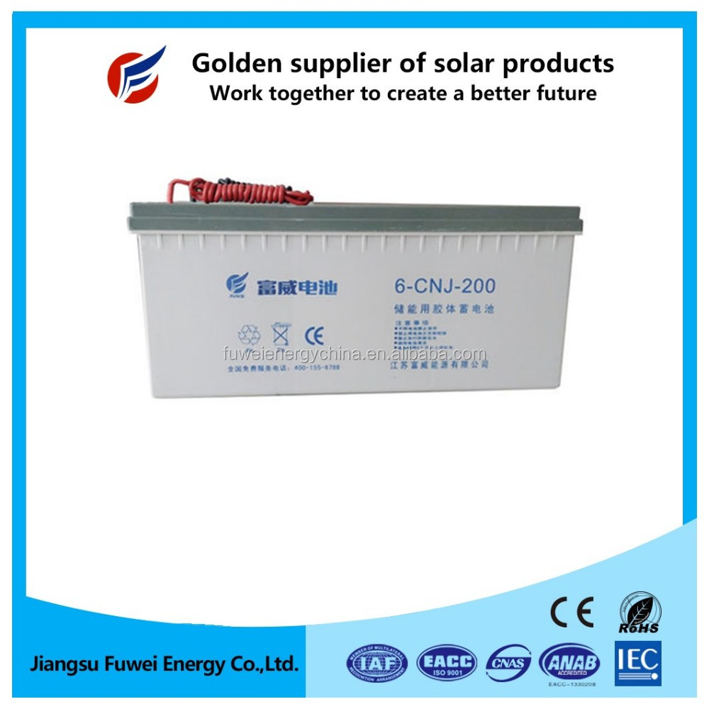 Green power deep cycle gel lead crystal battery 12V 200Ah for railway system