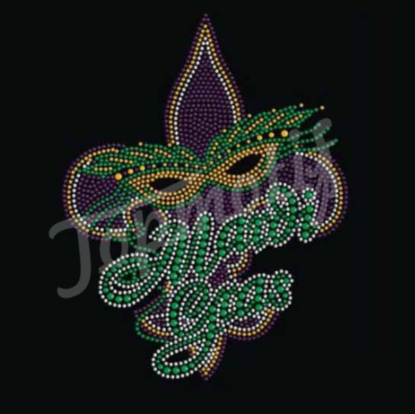 Hand Applique Embroidery Designs Transfer Mardi Gras Rhinestone Stickers
