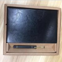 Business meeting diary book with pen black leather stationery thick