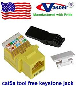 Vastercable, CAT5E RJ45 Keystone Jack Tooless (YELLOW Color)