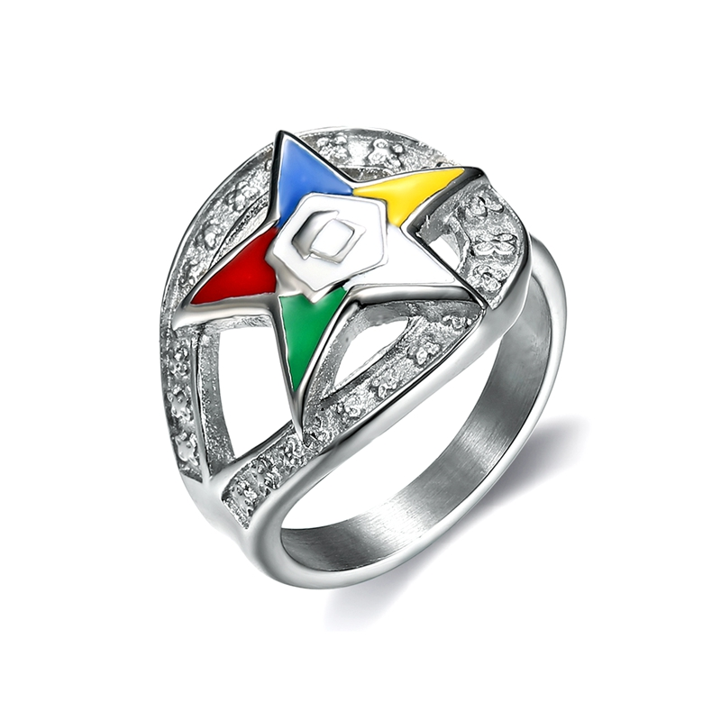 Dropshipping new style stainless steel the order of eastern star <strong>rings</strong>, colorful enamel eastern star <strong>rings</strong>, OES charm (HG-008)
