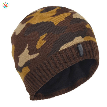 c9e2a6bbe0b44 Soft Knitted hats adults Camouflage cap winter Beanie Hat Skull Ski Cap  cuffless beanie wholesale