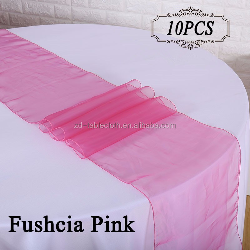 cheap pink wedding organza table runners for square tables