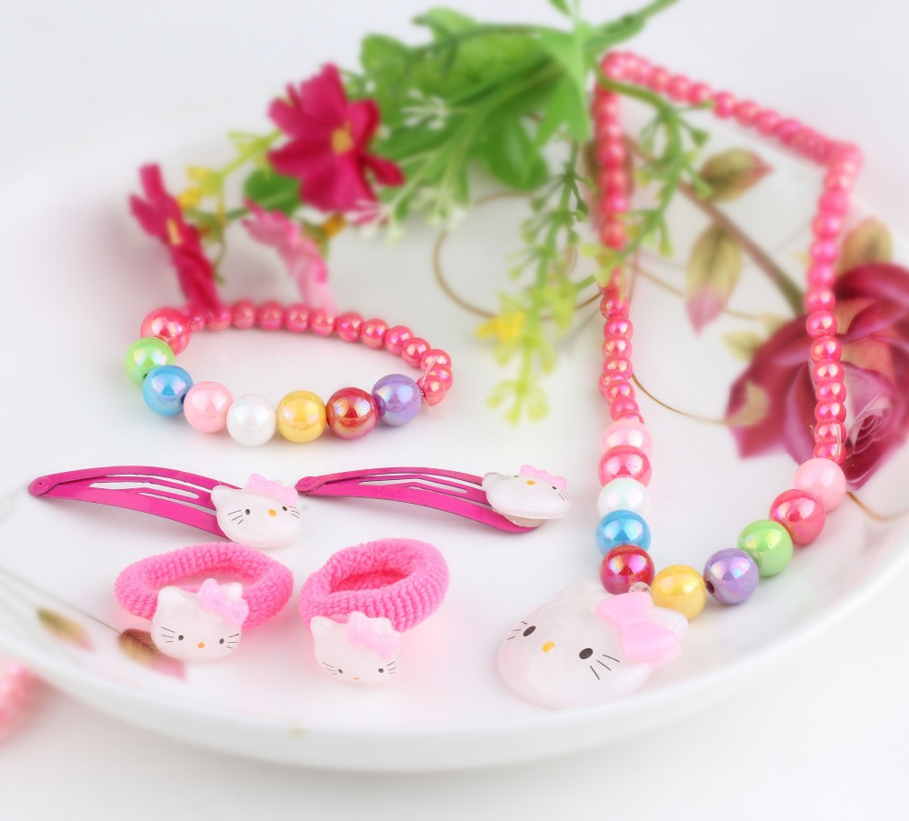 1set=6pcs candy beads hello kitty hair Accessories necklace Bracelets headband hair clip Baby Accessories Girls hair accessories