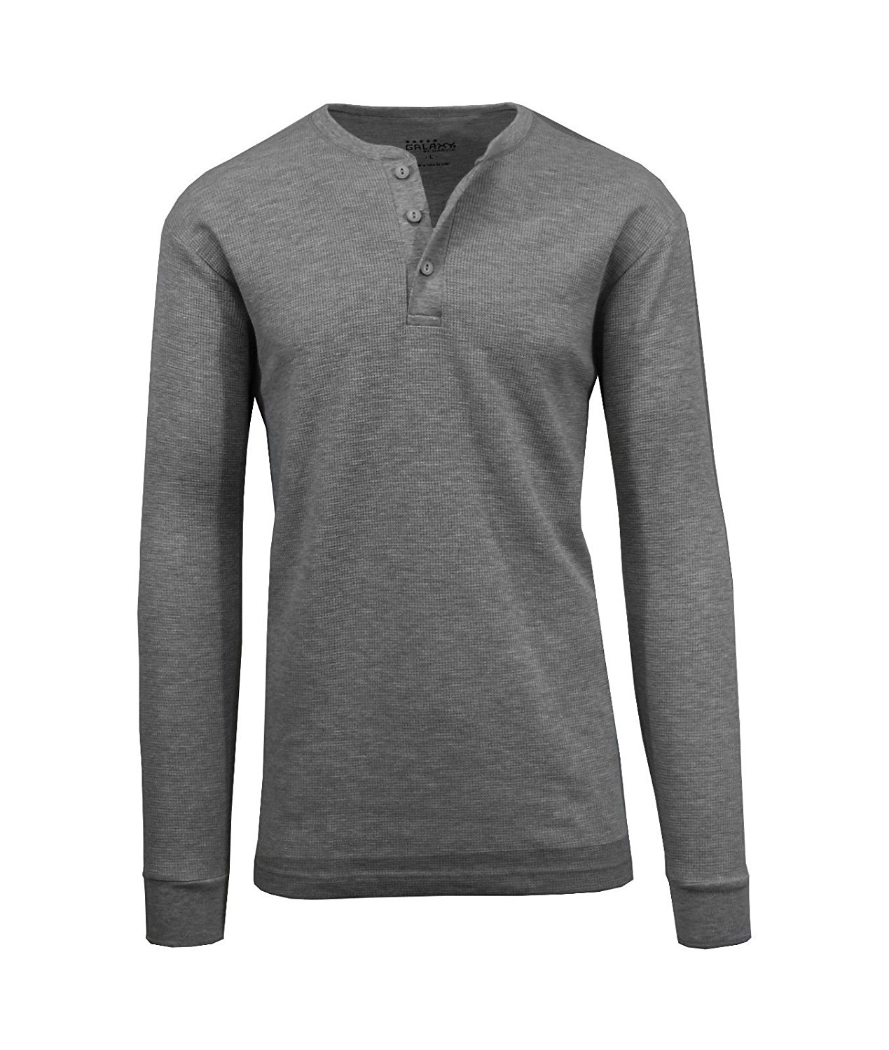 7b46fb65 Get Quotations · Galaxy by Harvic Men's Waffle-Knit Thermal Henley,  Black/Charcoal/Heather Grey