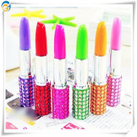 Promotional Lipstick Ball Pen with Sparkles Rhinestone