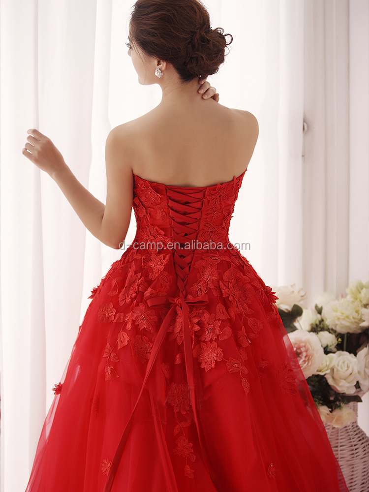 Wd086 Young Girls Strapless Red Wedding Dresses For Sale Online ...