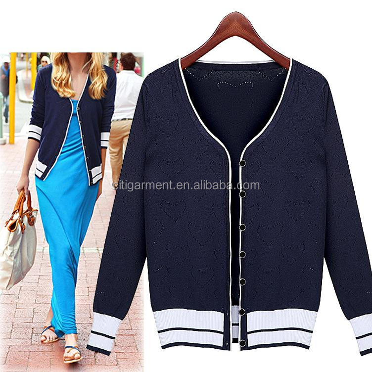 Fashion Womens Long Sleeves V-neck Knitted Cardigans Short Sweater Wholesale