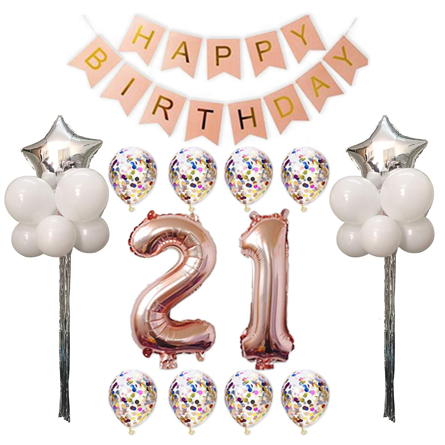 Get Quotations 21st Birthday Party Pack21st Decorations Supplies Balloons Rose Gold