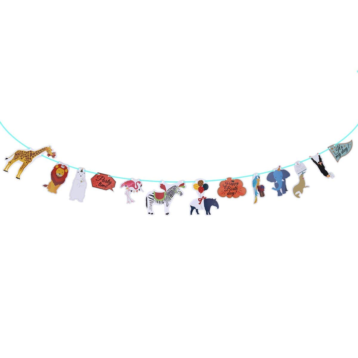 2.2 Meters Birthday Bunting Banners Jungle Animals Flamingo Zebra Monkey Bradypod Brown Bear Penguin Patterns Flags Hanging Garland Decoration For Birthday Festival Home Party Decor