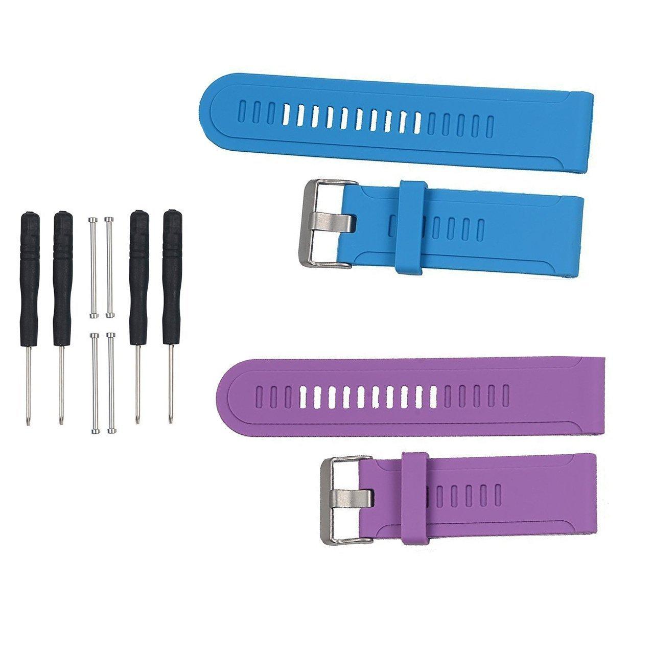 Replacement Bands and Straps for Garmin Fenix 3 HR - 2pcs,Purple+Blue