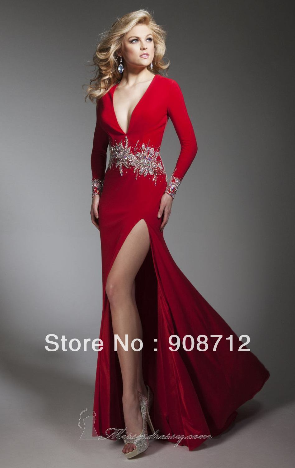 Fashion long sleeve v neckline designer stunning evening - Designer red carpet dresses ...