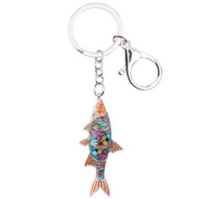 Bonsny эмалированный пресноводной брелок рыбы кольцо для ключей с сумочкой сумка брелок аксессуары модные украшения для животных для женщин(Китай)