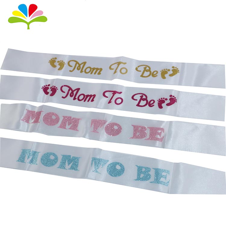 Baby Shower Party Supplies White Satin Sash Mom To Be Sash