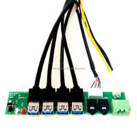 I/O PC Board Front Panel cable with 4 USB3.0+12V power supply+LED and SW+HD AUDIO For Computer
