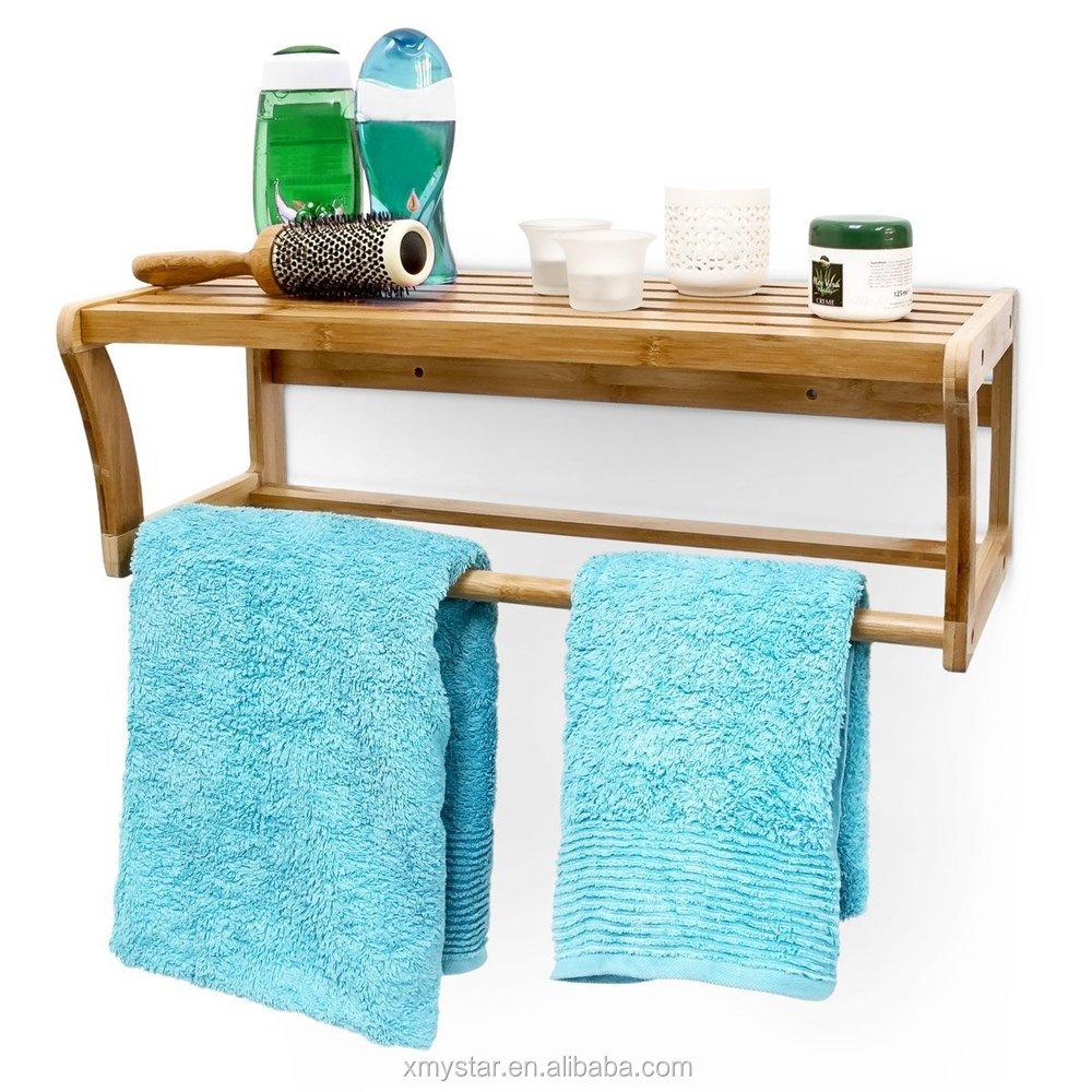 Natual Bamboo Bathroom Shelf Bamboo Towel Rack - Buy Bamboo Bathroom ...