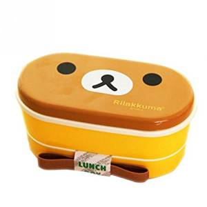 brown bear 2 Layer Cartoon Rilakkuma Lunchbox Bento Lunch Box Food Container With Chopsticks Japanese Style Plastic Lunch box