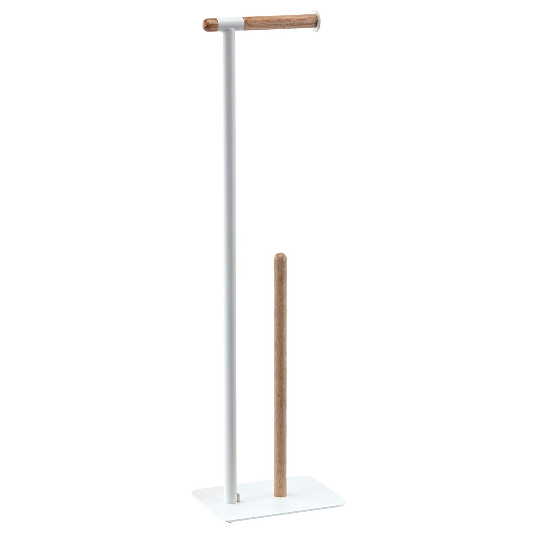 Nova Bath Collection Oscar Wood Toilet Paper Holder And Storage Spare Roll Set