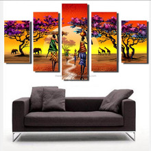 Wholesale modern abstract african women decorative oil painting on canvas