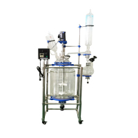 10l 20l 50l 100l 150l 200l laboratory chemical reactor jacketed double layer glass stirred tank reactor