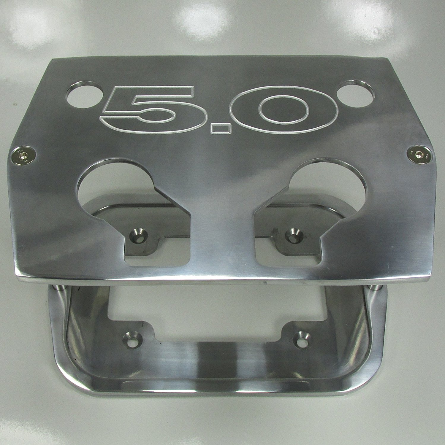 """Polished Billet Aluminum Mustang 5.0 Group 34/78 Optima Battery Tray - """"5.0"""" Mustang Polished - Red Yellow Blue Top"""