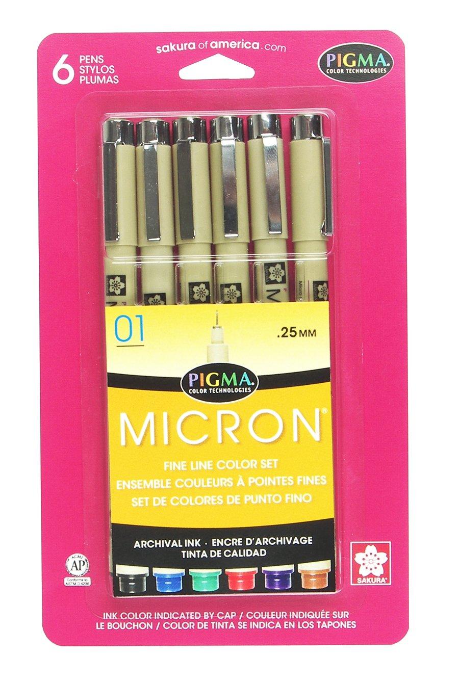 Sakura Pigma 30061 Micron Blister Card Ink Pen Set Ass/'t Point Size 3... Black