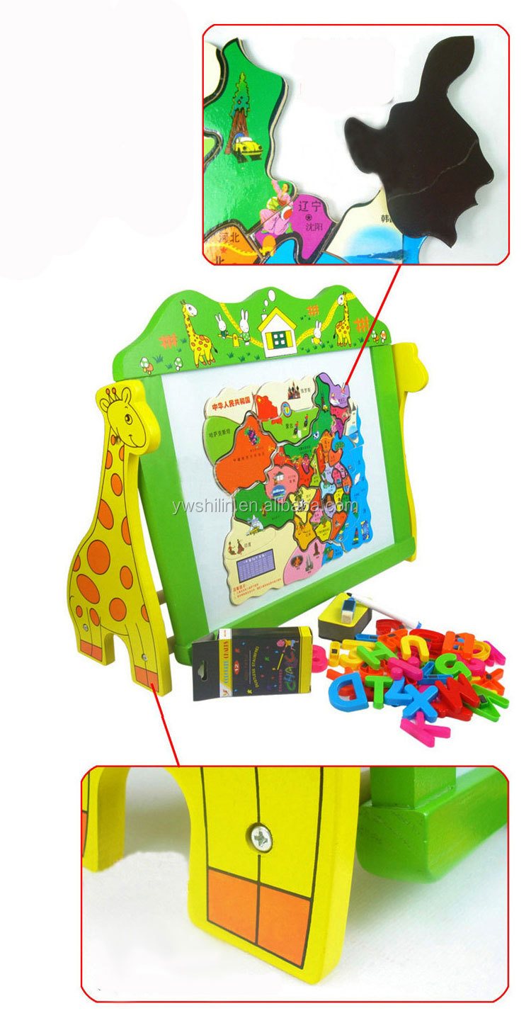 sales cartoon reusable magnetic wooden drawing board for kids