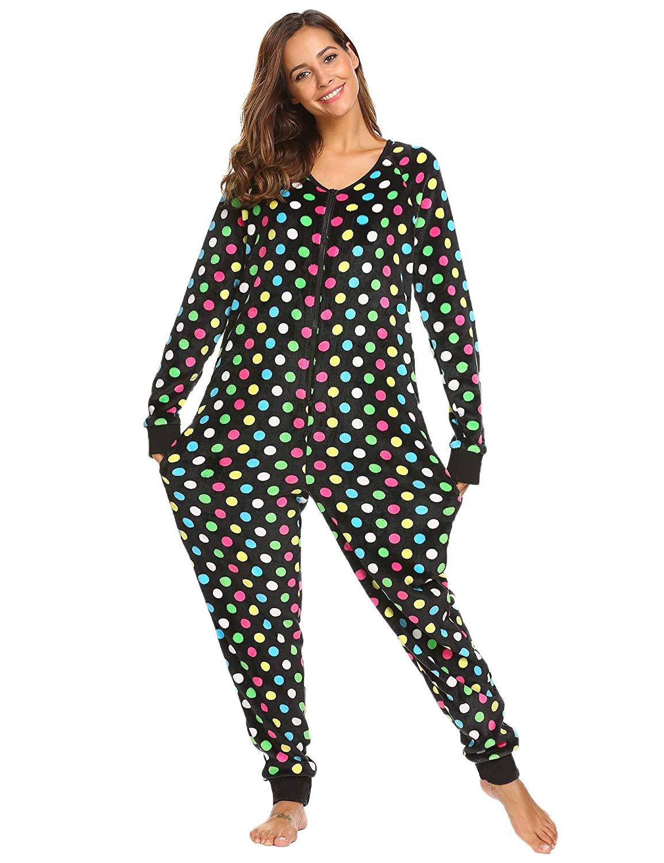 b45126af673 Get Quotations · Ekouaer Womens Christmas V Neck Onesie Long Sleeve One  Piece Pajama S-XXL