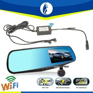 2016 Newest Wifi wireless 4.3inch 1080P Dual Lens Car DVR Blue Mirror Full HD 140 Angle View Rear Mirror camera