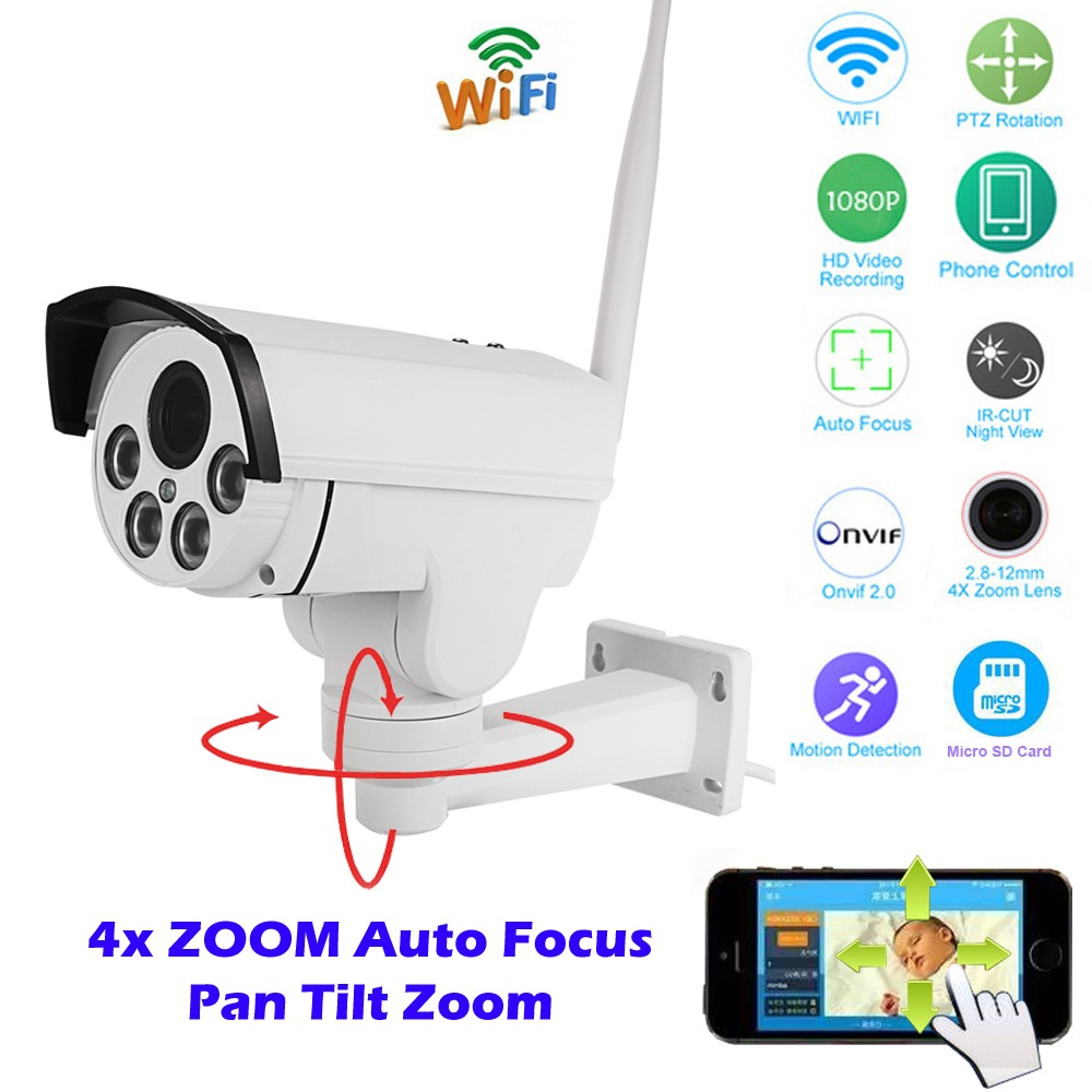 1080P Waterproof Bullet PTZ IP Camera Wifi APP for Android and iOS Phones CCTV Hidden Camera