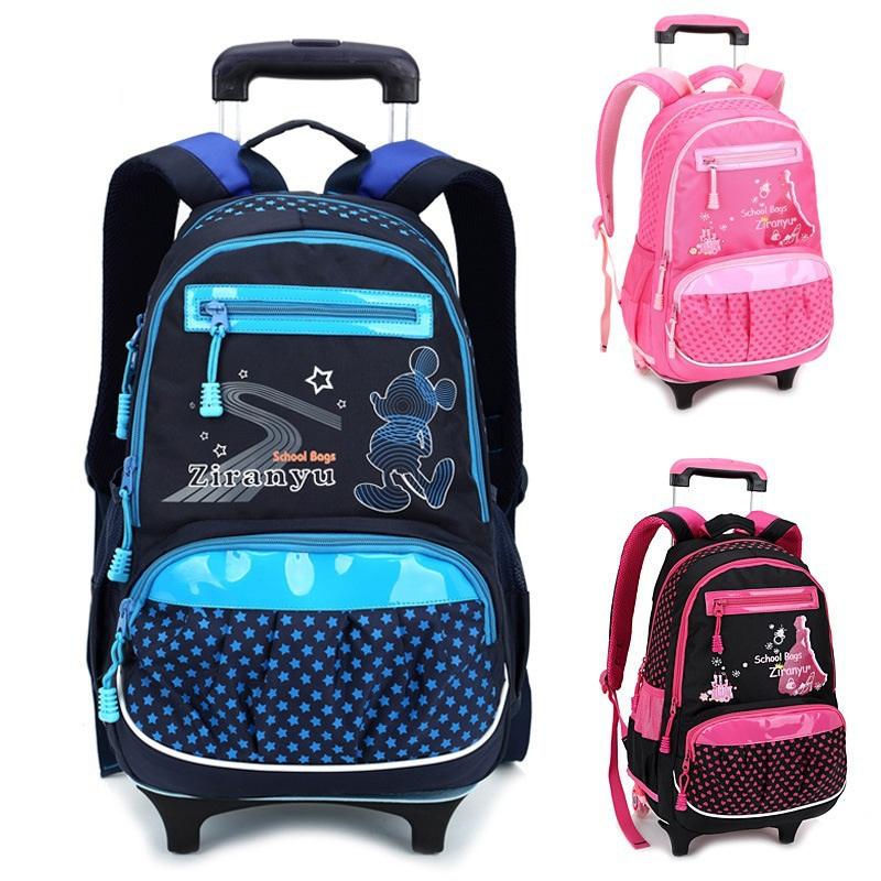5cb5e56f53f3 Children Trolley School Bags Lovely Rolling Mochilas Escolar Kids Cartoon Wheeled  Printing Backpack Girl Christmas Gift