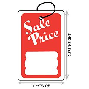 1000 Large Red /& Yellow Unstrung Boutique Sale Price Merchandise Tags 1.75 W x 2.875 H