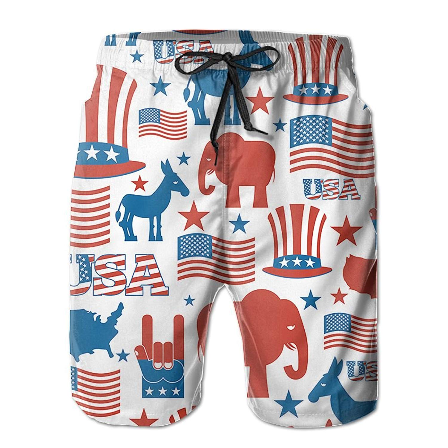 37c96169b3 Get Quotations · US Flag Elephant Horse Beach Pants Men Swimming Trunks  Quick-Dry Board Trunks with Lining