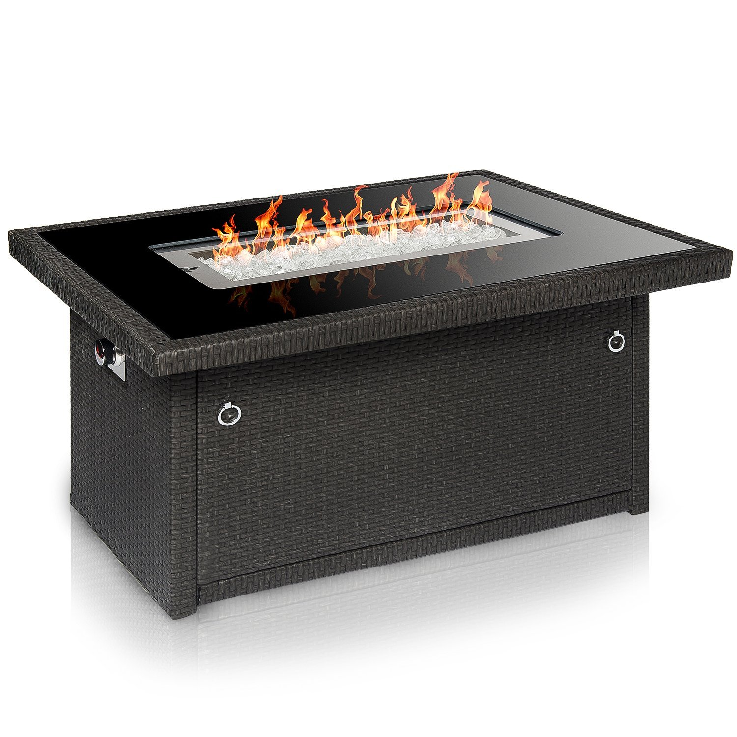 Outland Living Series 401 Grey 44-Inch Outdoor Propane Gas Fire Pit Table, Black Tempered Glass Tabletop w/Arctic Ice Glass Rocks and Resin Wicker Panels, Slate Grey/Rectangle