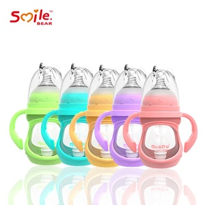 Collapse Resistant Soft Silicone Nipple BPS and BPA Free Eco-Friendly Glass baby feeding bottle