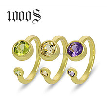 fashion 925 silver gold plated crystal ring with natural stone