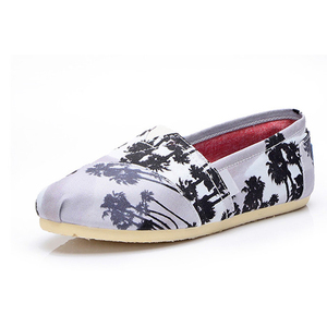 2018 china wholesale print fabric ladies causal flat canvas shoes