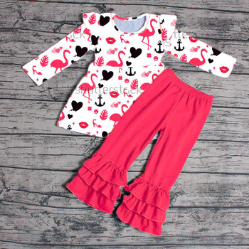 41bfd99c2b18f Sue Lucky newly arrivals pink flamingo prints valentine days children  boutique clothes
