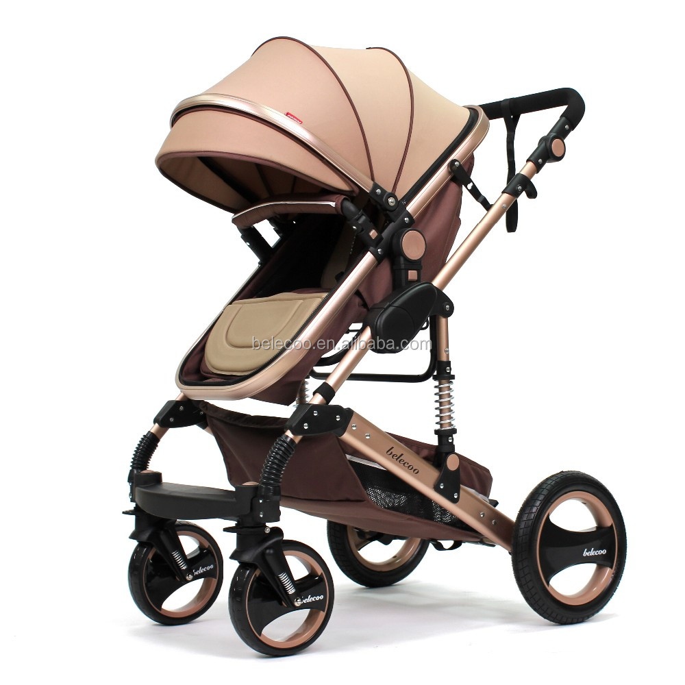 Belecoo brand 535-Q3 high quality aluminum alloy baby stroller/baby pram/ baby carrier 3 in 1 Khaki color