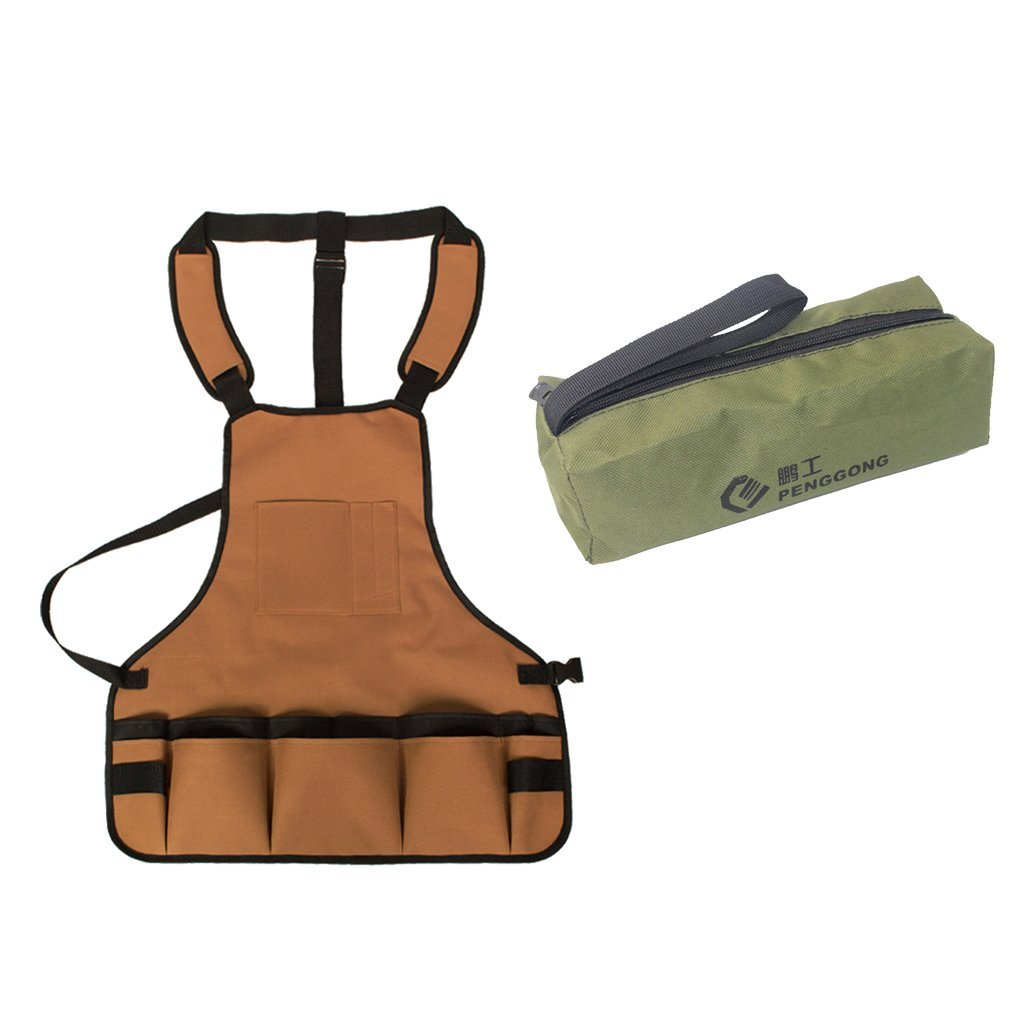 Fenteer Oxford Storage Bag Repair Tools Hardware Handbag Zip Organizer + Tool Apron