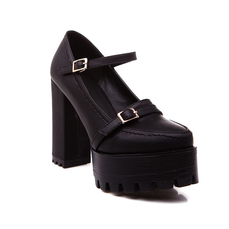 4c87d337ed58 Get Quotations · Platform High Heel Shoes Woman 2015 Round toe Buckle Strap High  Heels Black White Square Heel
