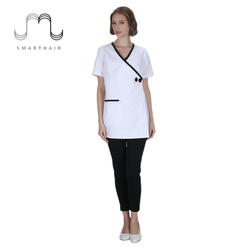 Soft natural stretch durable fabric short sleeve spa for Spa uniform alibaba