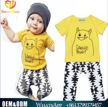 Hot sale ins baby clothes short sleeve beast t-shirt +harem pants newborn  baby 4fd3d08046fe